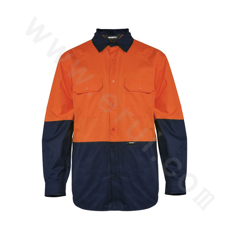 Hi-visibility two tone sleeve cotton drill shirt